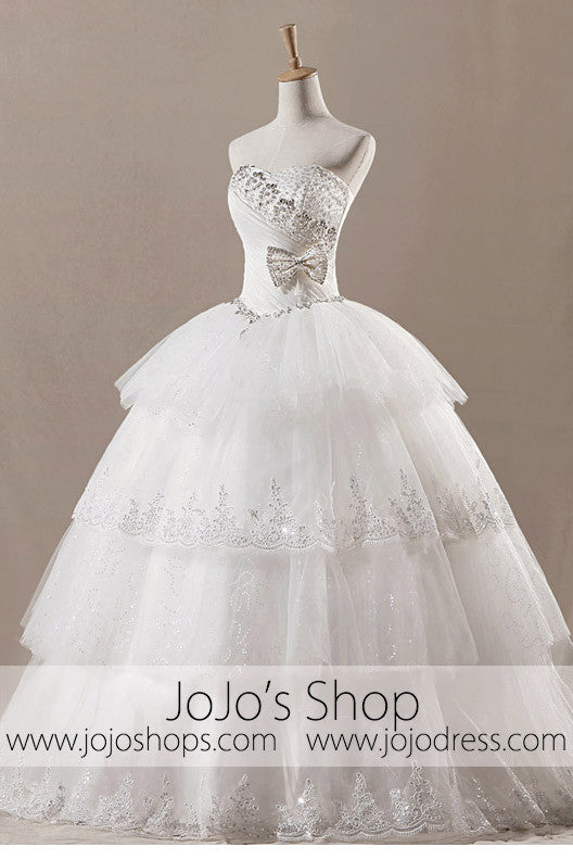 Strapless Ball Gown Tiered Wedding Dress H1048