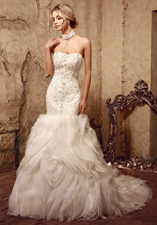 Jeweled Strapless Fit and Flare Wedding Dress
