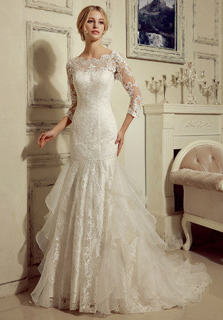 Fit And Flare Wedding Dress.Long Sleeves Lace Fit And Flare Wedding Dress
