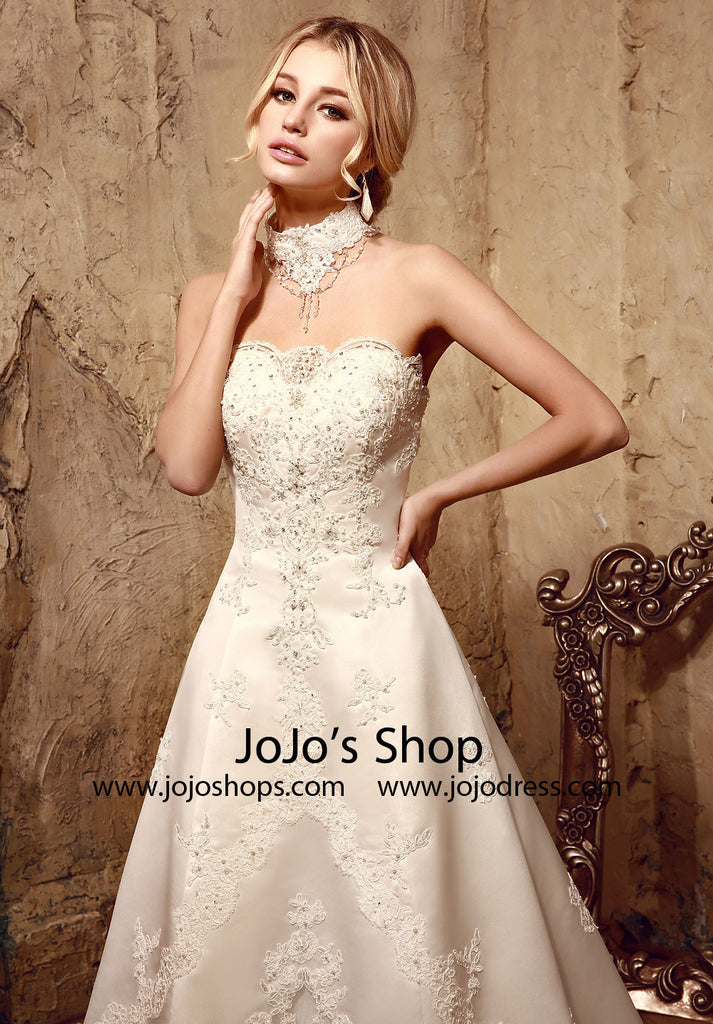 Vintage Style Lace Ball Gown Dress | HL1008