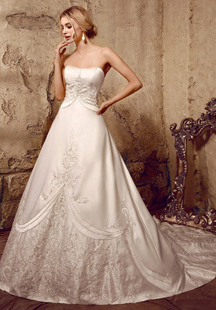 Strapless Embroidered Princess A-line Wedding Dress | HL1011