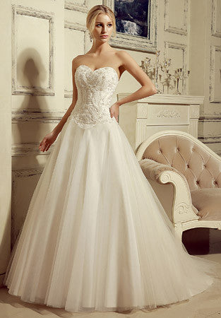 Strapless Ball Gown Style Wedding Dress with Sweetheart Neckline | HL1013