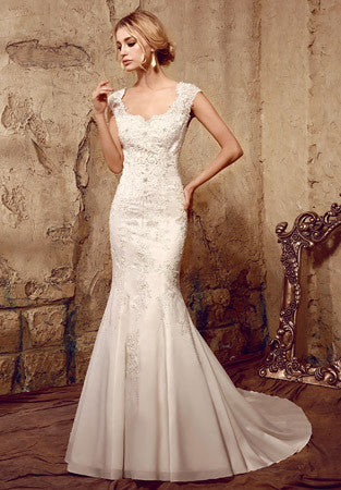 Vintage Style Fit and Flare Lace Mermaid Wedding Dress | HL1016