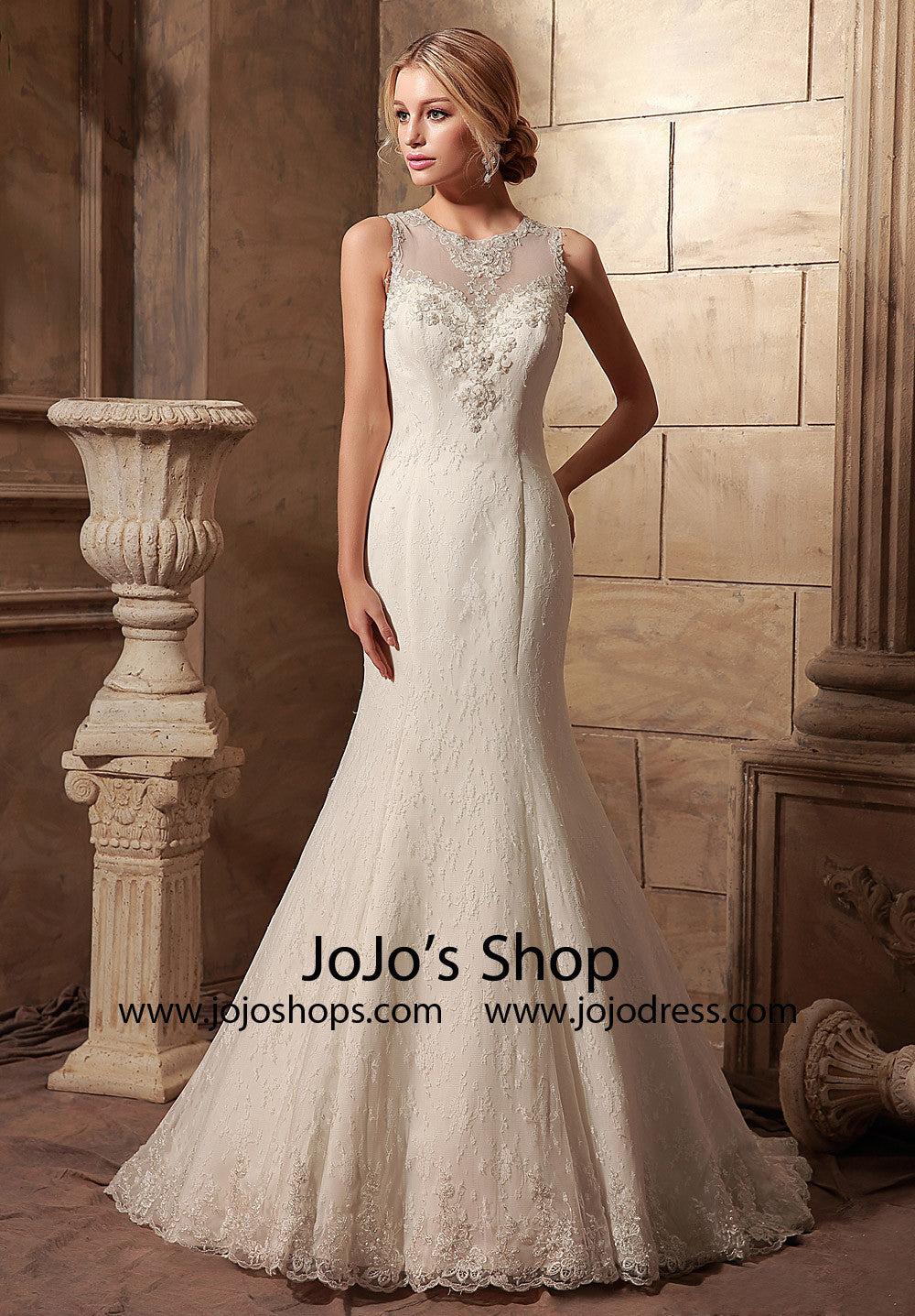 Vintage Style Lace Mermaid Wedding Dress with Illusion Neckline | HL1017