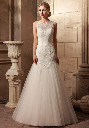 Vintage Lace Fitted A-line Wedding Dress | HL1018