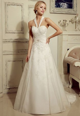 Halter Neck A-line Lace Wedding Dress | HL1019