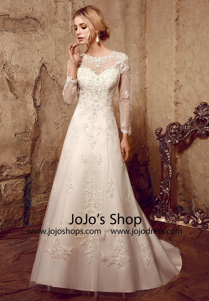 Vintage Style Lace Long Sleeves Dress with Keyhole Back | HL1022