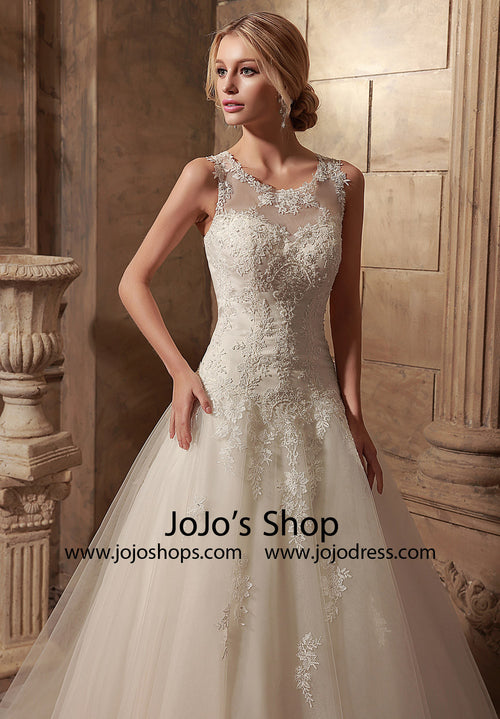 Jewel Neck A-line Lace Wedding Dress | HL1023