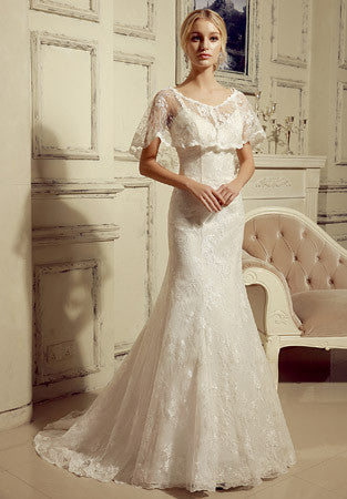 Vintage Style 2 Piece Lace Mermaid Wedding Dress with Lace Cape | HL1024