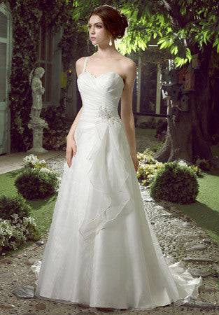 Whimsical One Shoulder Organza Wedding Dress | HL1027