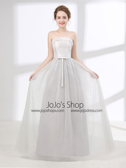 Strapless Dove Gray Tulle Floor Length Evening Dress