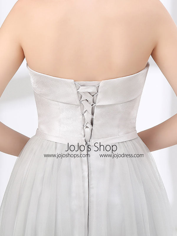 Strapless Dove Gray Tulle Floor Length Evening Dress with corset lace up