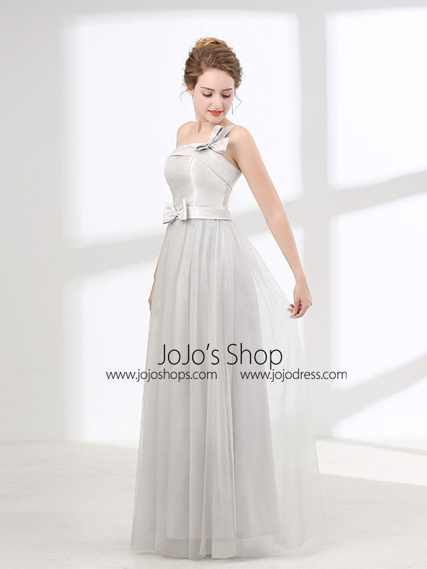 One Shoulder Soft Gray Floor Length Prom Evening Dress