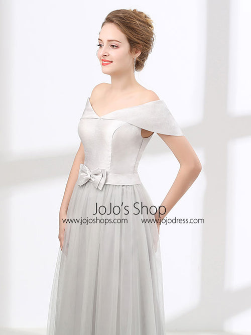 Off Shoulder Gray Formal Floor Length Evening Dress