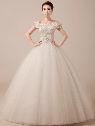 Off Shoulder Debutante Ball Gown with Scallop Lace Edge | MX5015