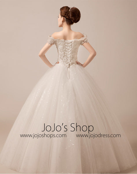 Off Shoulder Debutante Ball Gown with Scallop Lace Edge