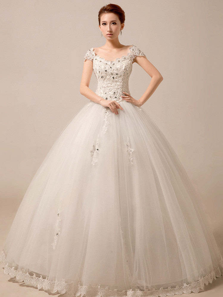 Cap Sleeves Princess Ball Gown Wedding Dress Debutante Dress