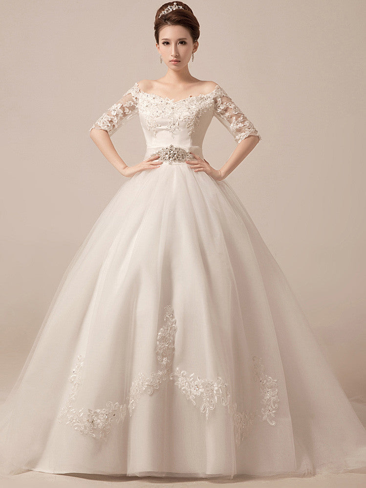 b16bead3f68a9 Off Shoulder Ball Gown Wedding Dress Debutante Ball Gown with Sleeves