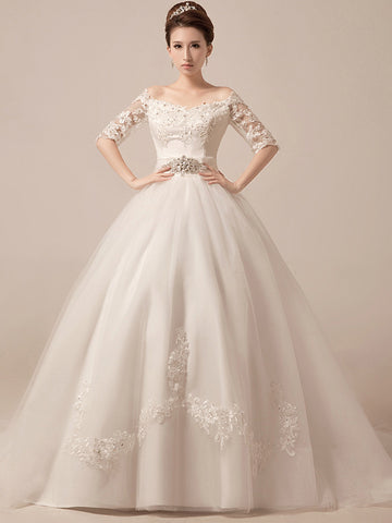 Off Shoulder Ball Gown Wedding Dress Debutante Ball Gown with Sleeves