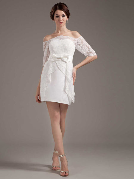 Short Lace Reception Dress with Off Shoulder Sleeves