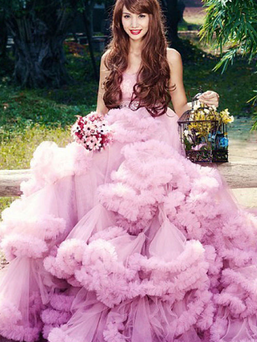 Strapless Tulle Ruffles Prom Ball Gown Formal Dress