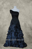 Black One Shoulder Tiered A-line Prom Dress Size 8