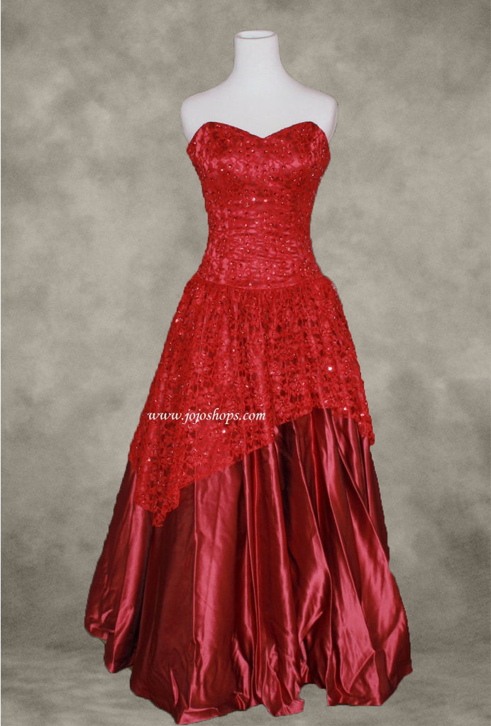 Strapless Red Lace Ball Gown Formal Prom Dress Size 2 – JoJo Shop