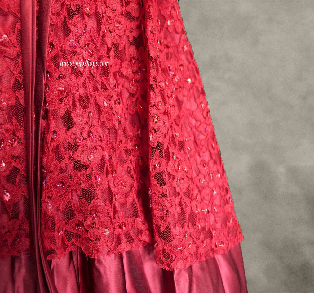 Strapless Red Lace Ball Gown Formal Prom Dress Size 2