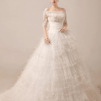 2 Piece Tiered Ball Gown Debutante Wedding Dress | MX5016