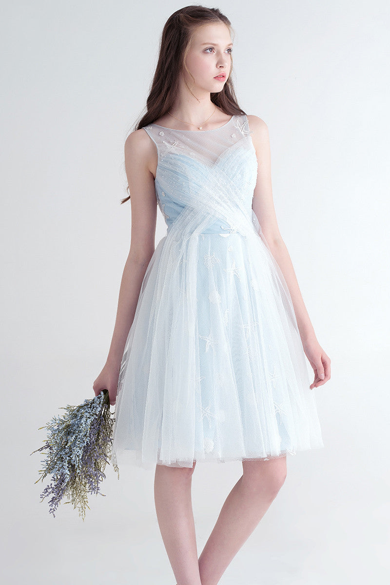 Ice Blue Short Tulle Bridesmaid Dress