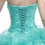 Strapless Turquoise Formal Quinceanera Ball Gown
