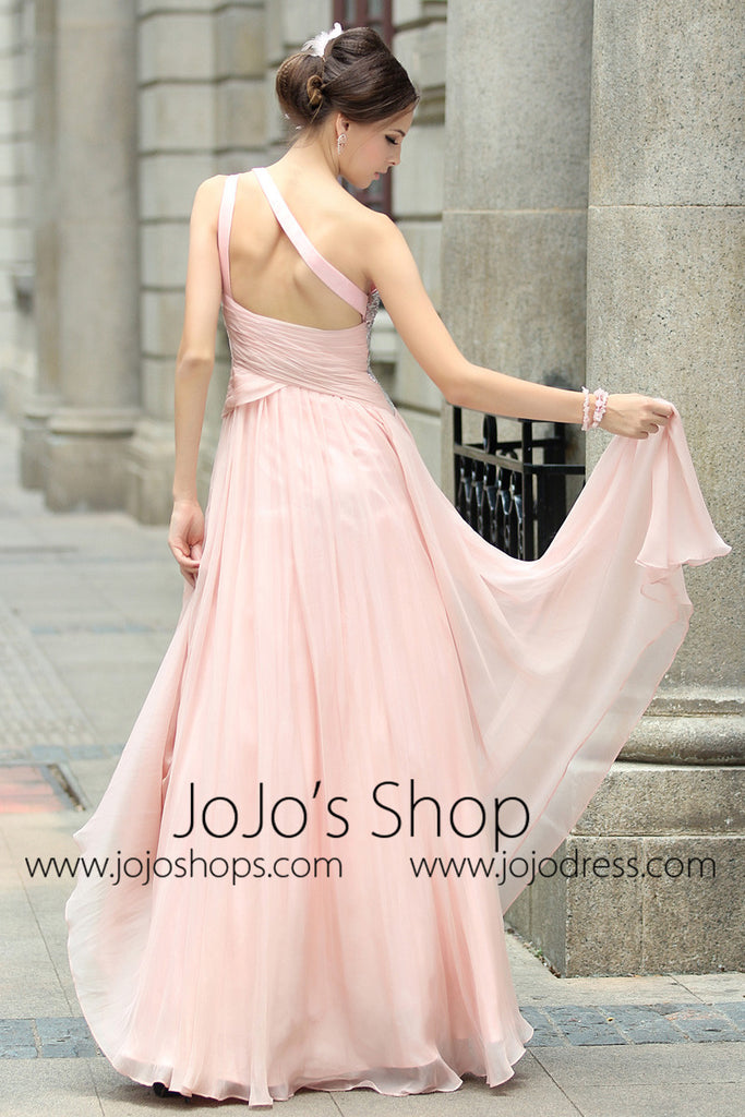 Pink Grecian Goddess One Shoulder Prom Formal Evening Dress
