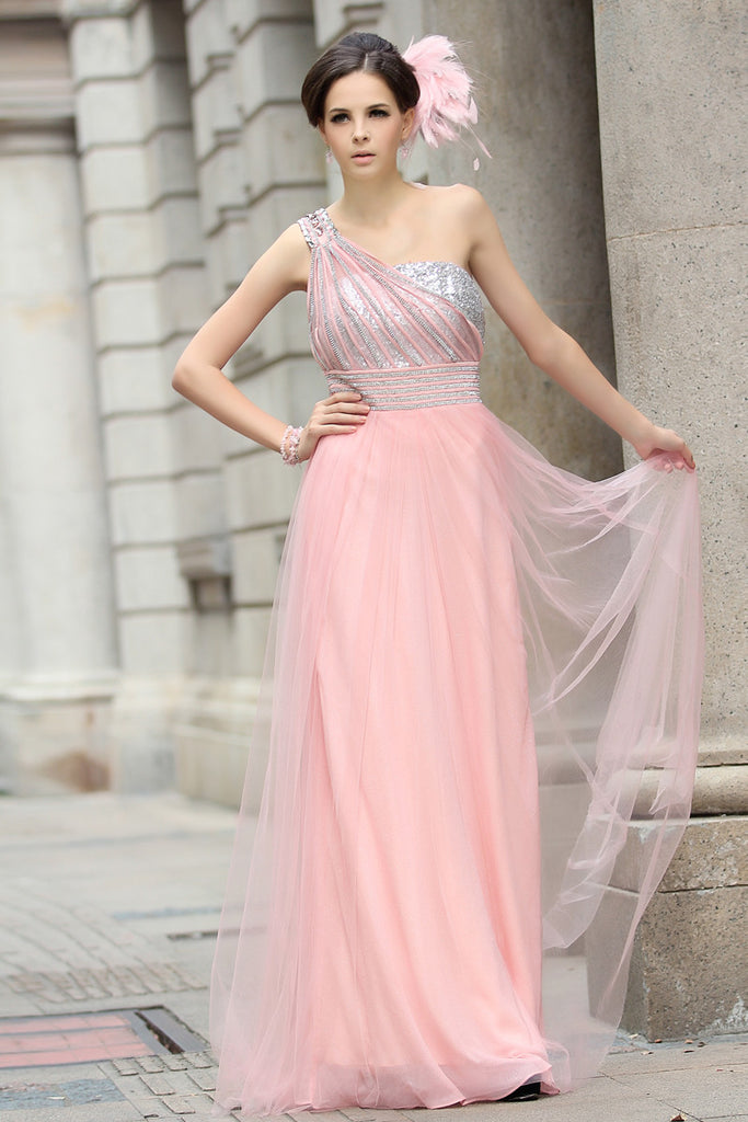 Pink Grecian Formal Prom Beauty Pageant Dress in Sparkly Tulle ...