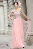 Pink Grecian Formal Prom Beauty Pageant Dress in Sparkly Tulle