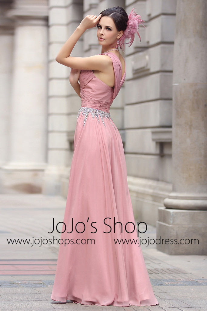Pink V Neck Grecian Formal Prom Evening Dress