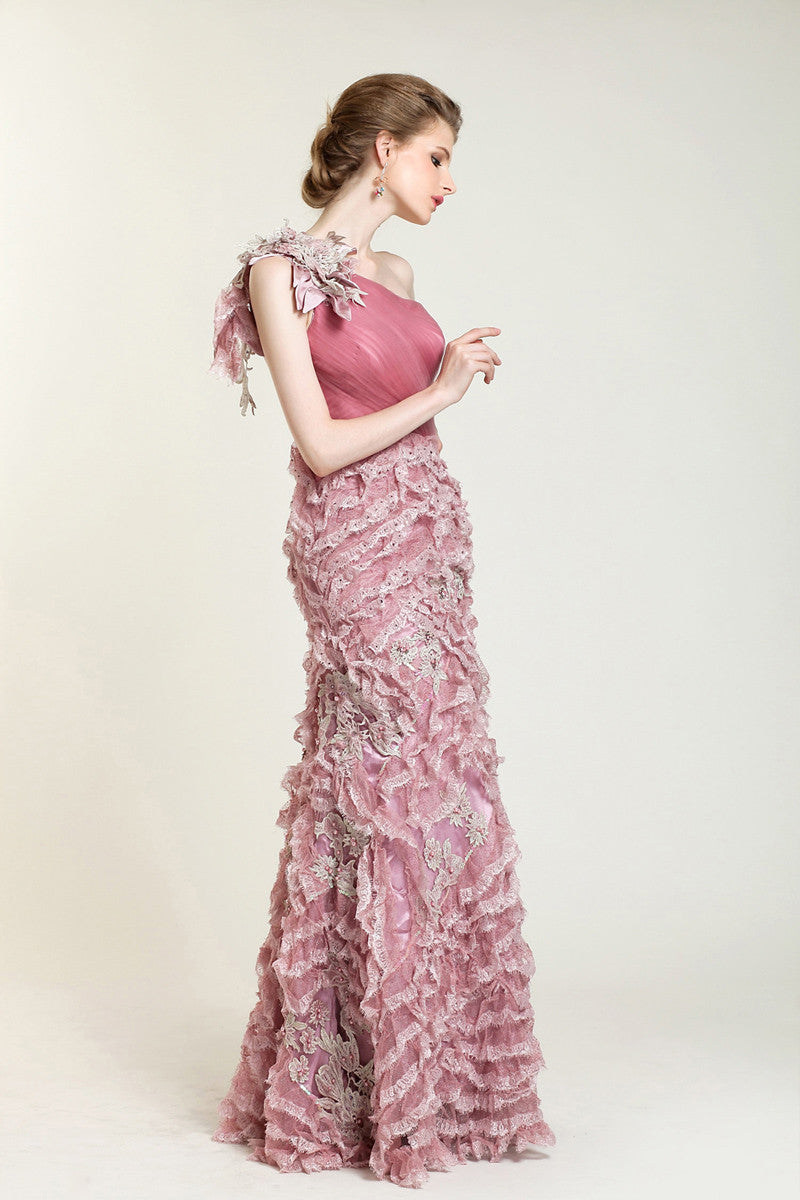 Pink One Shoulder Formal Prom Evening Dress with Ruffles