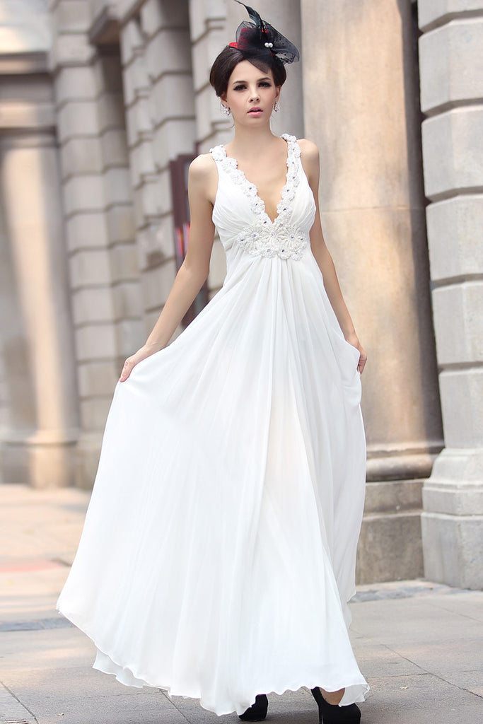 White Grecian V Neck Goddess Formal Evening Dress
