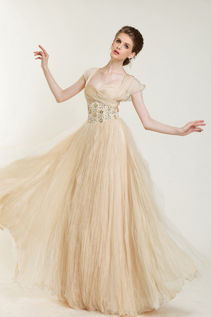 Retro Vintage Style Champagne Cap Sleeves Formal Pageant Evening Dress