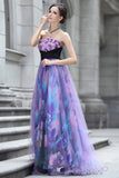 Strapless Purple Multicolor Floral Formal Prom Evening Dress