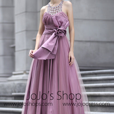Purple Grecian Prom Formal Evening Dress with Sparkly Jewel Neckline
