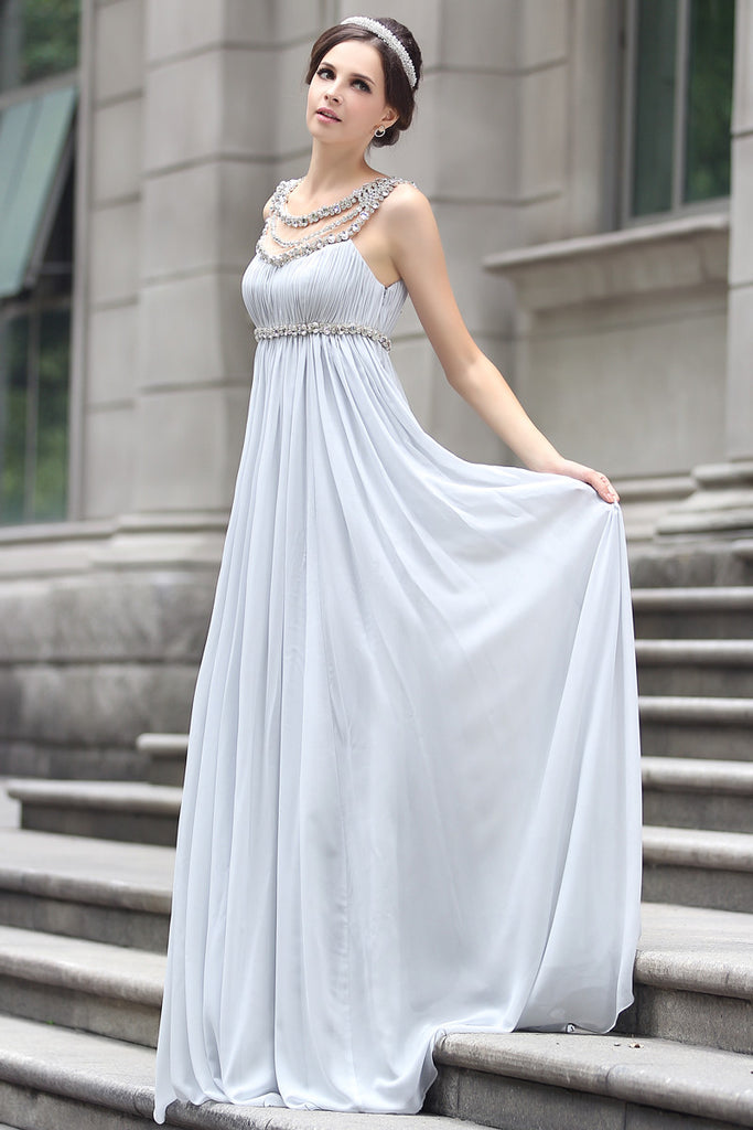 Grecian Goddess Empire Waist Gray Formal Prom Evening Dress
