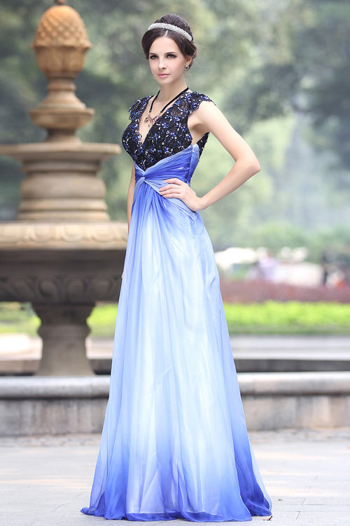 Changing Blue V Neck Formal Prom Evening Dress