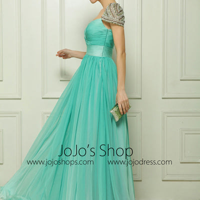 Green High Waist Chiffon Formal Evening Dress with Sparkly Crystal Cap Sleeves