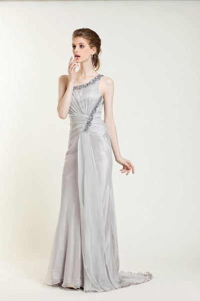 Gray One Shoulder Grecian Prom Formal Evening Dress