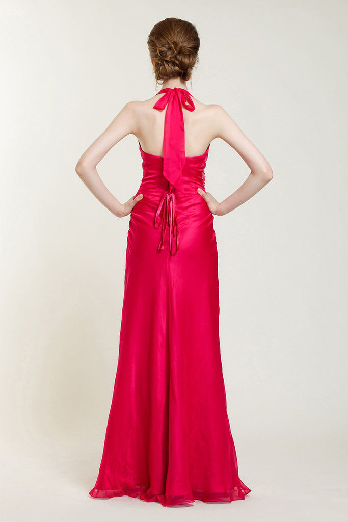 Fuschia Pink V Neck Halter Formal Prom Evening Dress