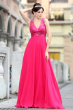 Fuchsia Pink Grecian V Neck Beauty Pageant Formal Evening Dress