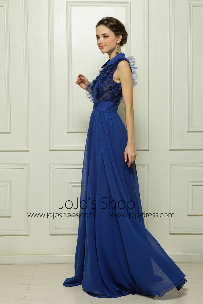 Blue Sleeveless Formal Evening Dress with Side Slit and Collar