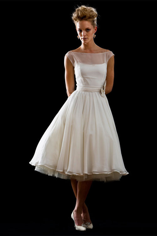 Ready to Wear Modest 50s 60s Short Tea Length Wedding Dress | DV1045