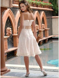 Strapless Knee Length Wedding Reception Dress
