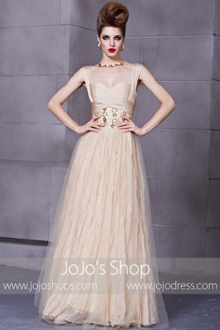 Grecian Champagne Formal Prom Evening Dress with Cap Sleeves | RE88866